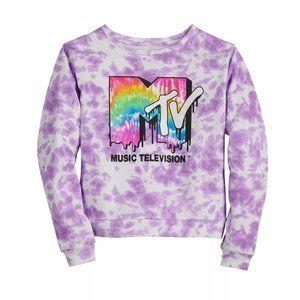 MTV Girls Purple Tie Dye Fleece Sweatshirt